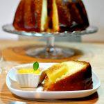 Babà al rum, lemon curd e ananas caramellato, con bagna alla menta e glassato al tarassaco