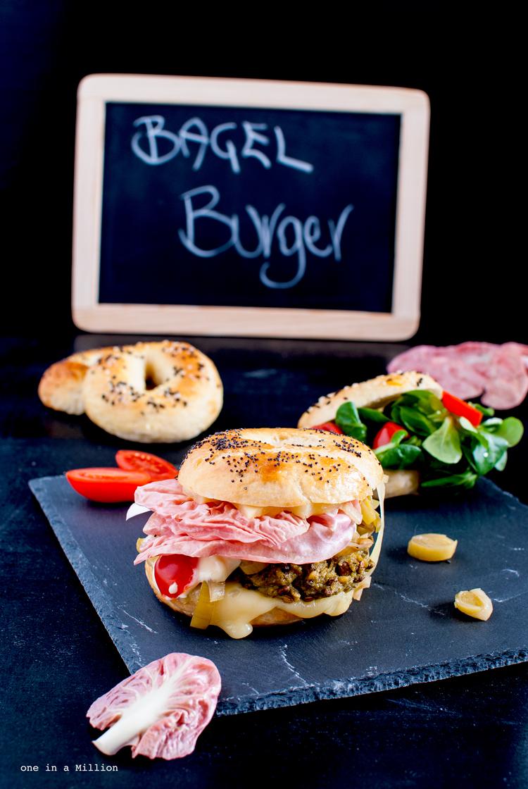 bagel burger cavolo radicchio fontal pomodori porri