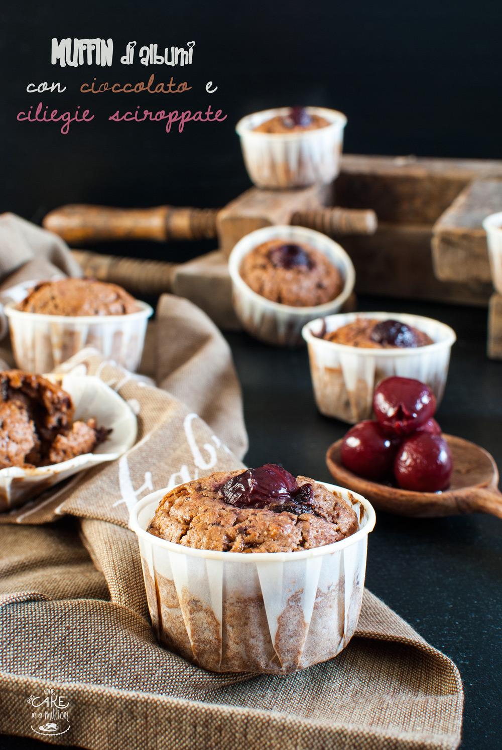 muffin albumi cioccolato ciliegie sciroppate