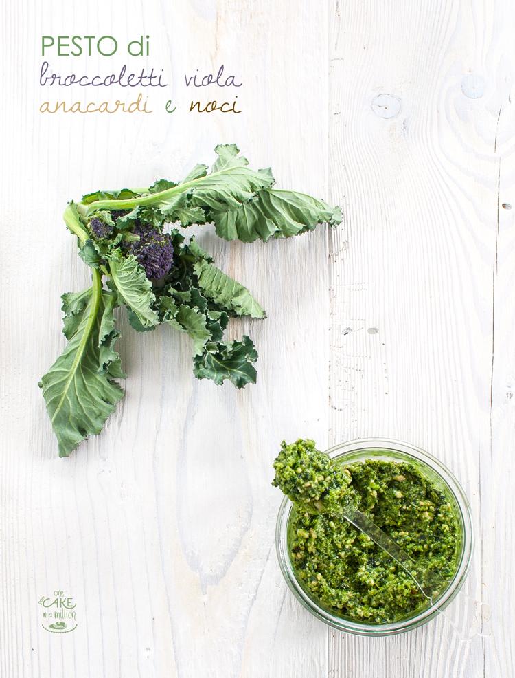 pesto, homemade, broccoli, broccoletti viola, parmigiano, olio evo, anacardi, noci, easy in 20 minuti