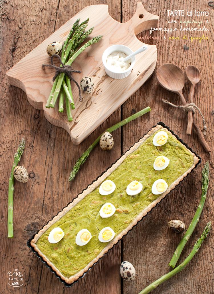 Tarte, farro, crema, asparagi, formaggio homemade, salmone, uova di quaglia, Pasqua, antipasto