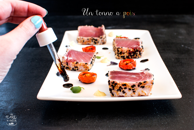 tonno, tataki, germogli sakura, maionese al wasaby, riduzione aceto e soia, pomodorini confit