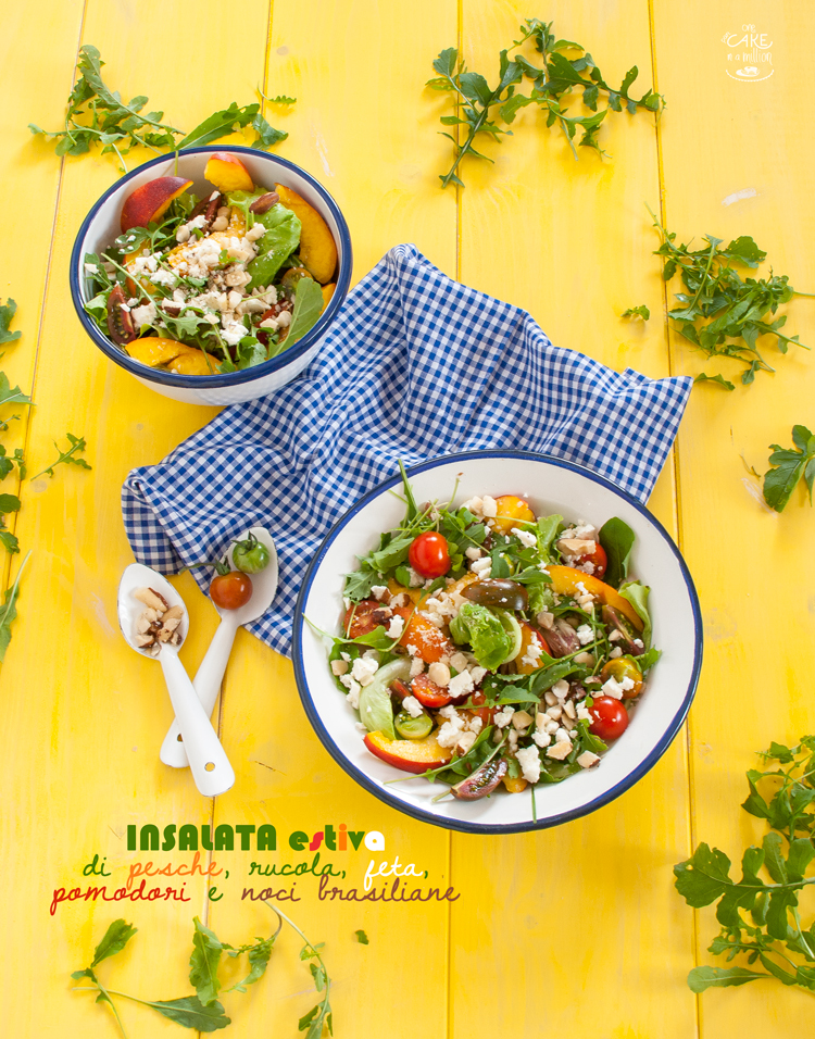 insalata, estate, colori, pesche, rucola, feta, pomodori, noci brasiliane, gluten free