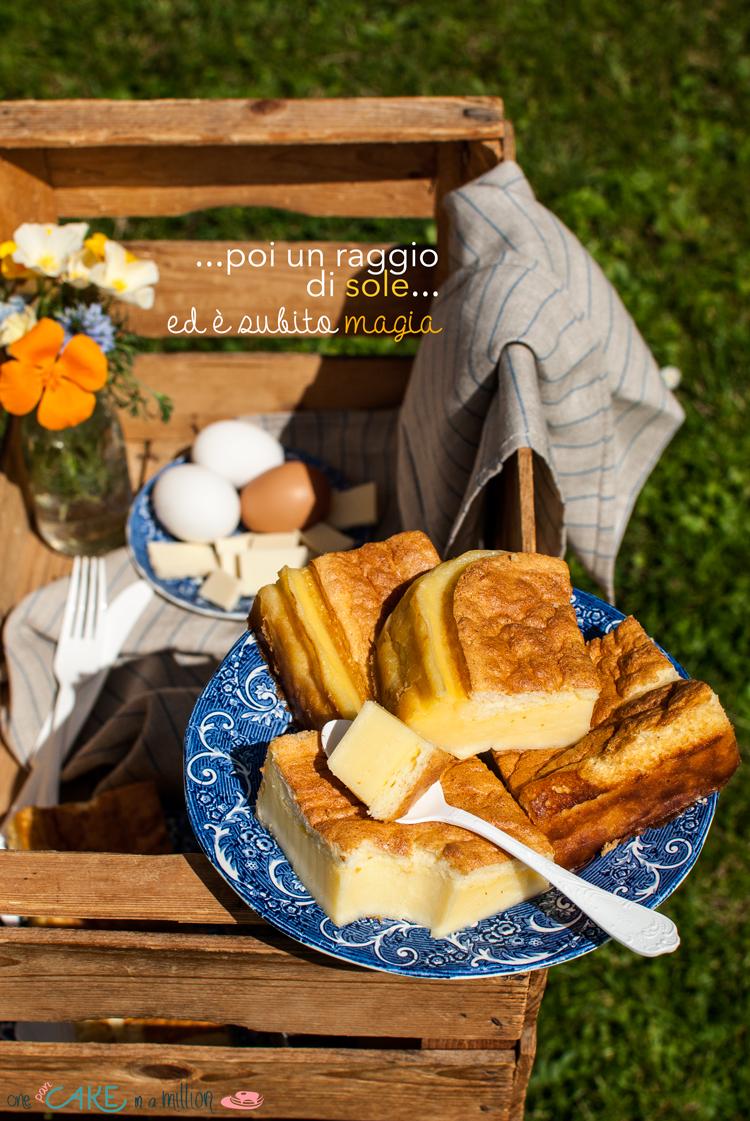 torta magica, cioccolato bianco, 3 strati, 1 impasto, facile, golosa,vintage, picnic