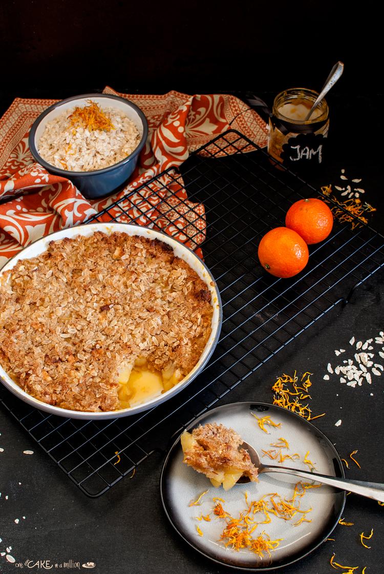 crumble, mele, mandarini, marmellata, fiocchi di riso, senza glutine, gluten free, zucchero di canna, easy