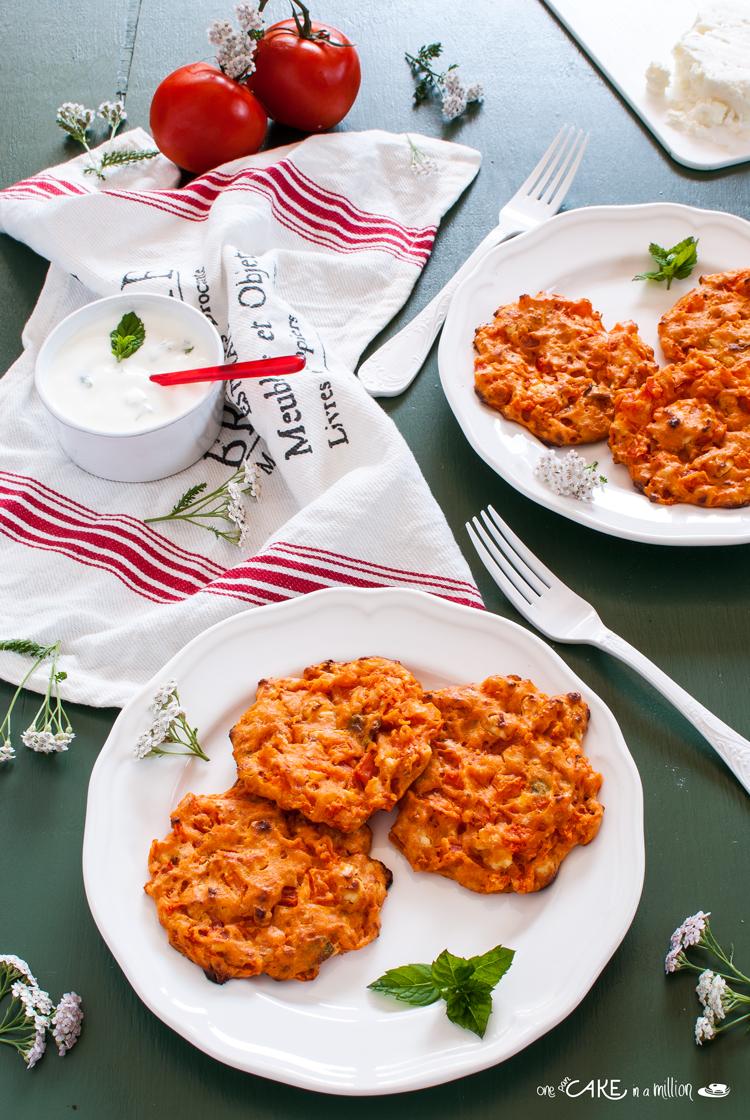 frittelle, pomodoro, feta, iFood, cucina greca, easy, light, forno