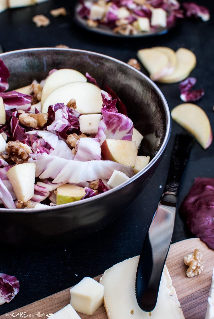 radicchio di Chioggia, noci, mele, taleggio, insalata, easy, easy in 20 minuti, autunno, fresh, colorata
