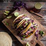 Tacos al cavolo rosso, maiale e lime