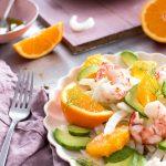 Gamberi con arancia, avocado e finocchi